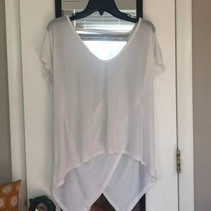 White scoop neck tie top